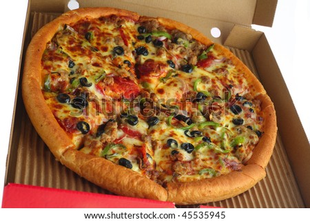 A pizza with all the trimmings in a delivery box