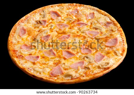 a pizza with ham and mushrooms, isolated