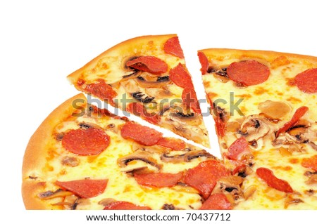 A pizza  with  pepperoni and slice. Isolated on white.