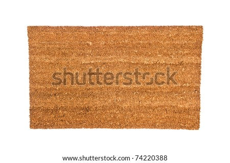 A plain brown doormat isolated on white.  Designer can use image to place any type of copy or message customized to their needs. - stock photo