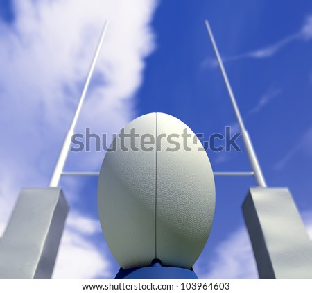 A plain white rugby ball on a kicking tee in front of some rugby posts ready to be converted