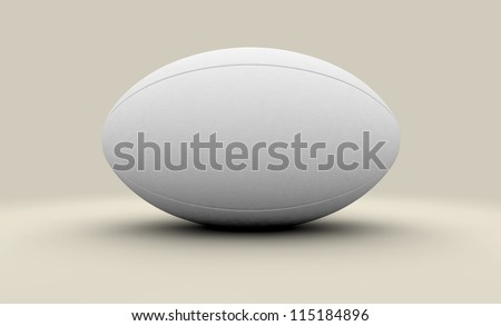 A plain white unbranded textured rugby ball on a plain background - stock photo