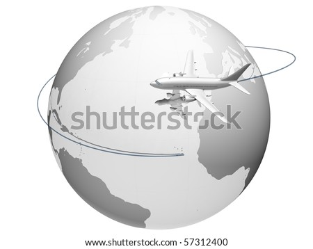A plane flying around the globe