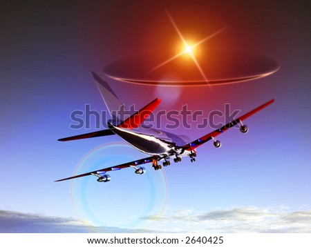 A plane flying high in the sky with a glowing UFO chasing the plane.
