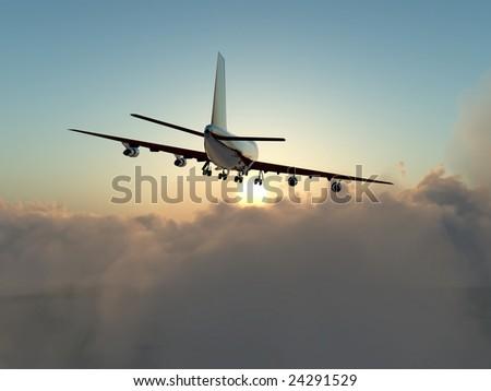A plane in flight over clouds. - Shutterstock ID 24291529