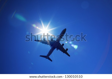 a plane is flying in the sky