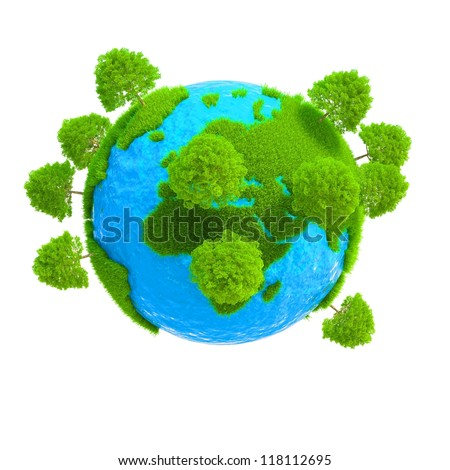 A planet with trees growing on it isolated on white background