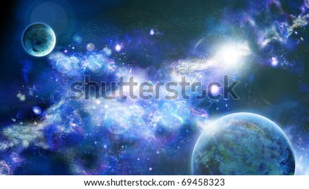A planets is in space, long nebula or part of galaxy among star sky - stock photo