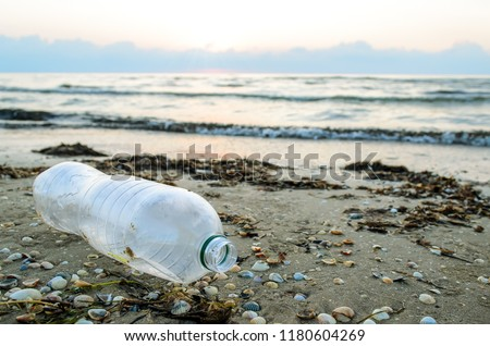 A plastic bottle lies on the beach and pollutes the sea and the life of marine life. The concept of pollution control of the seas and oceans by plastic. Beat Plastic Pollution.
