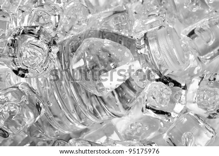 A plastic bottle of water in ice.