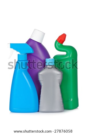 A plastic detergent bottles reflected on white background
