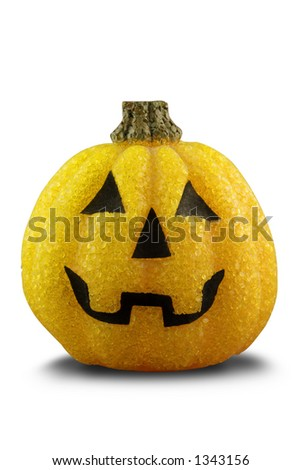A plastic Halloween pumpkin. Isolated on white with path.