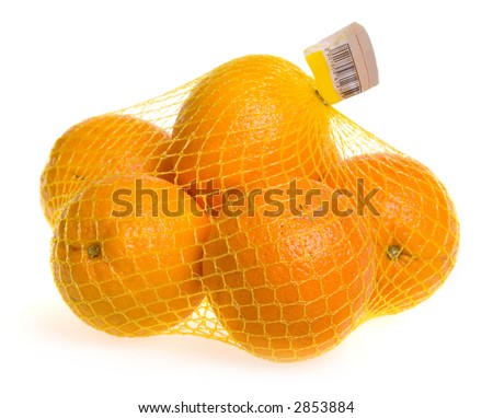 A plastic mesh bag with oranges.