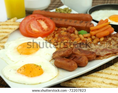 A plate of a tasty full English breakfast