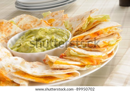 Plate Of Cheese Quesadillas With Guacamole Stock Photo 89950702 ...
