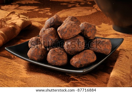 A plate of chocolate truffles