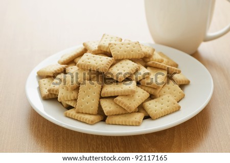 A plate of crackers - stock photo