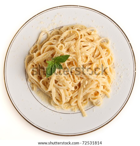 A plate of Fettuccine all'Alfredo, pasta in a butter, cream and parmesan sauce, garnished with a sprig of basil and sprinkled with grated cheese