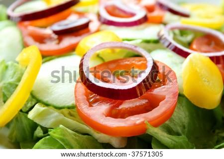 A plate of fresh chopped salad