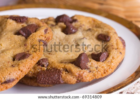 A plate of freshly baked chocolate chip cookies