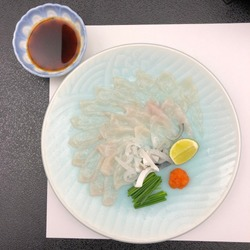 A plate of Fugu (Puffer fish). Thinly sliced. Served with lime, momijioroshi and Ponsu sauce. Taken at Shimonoseki city, Japan.
