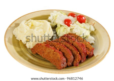 A plate of meatloaf on a white background