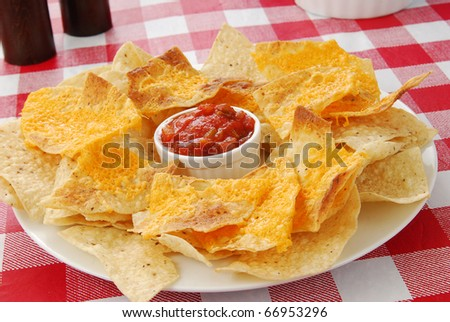 a plate of nachos with melted cheddar cheese and salsa