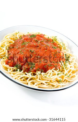 A plate of Spaghetti on white with copy space