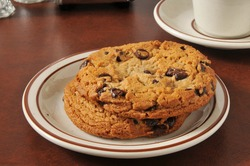 A plate of thick, gourmet chocolate chip cookies