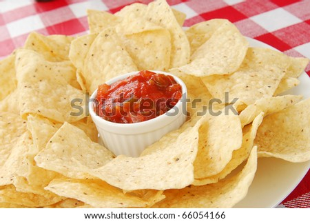 A plate of tortilla chips with salsa on a checkered table cloth