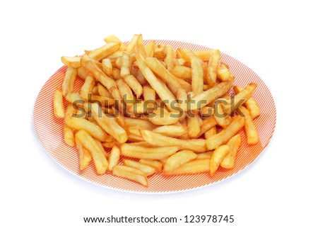 a plate with appetizing french fries on a white background