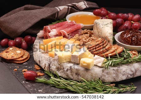 Shutterstock A plate with cheese , grapes, honey, crackers and prosciutto