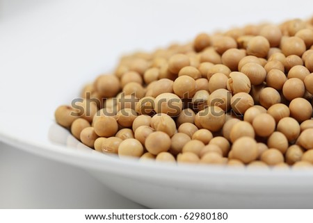 A plate with soy beans. Selective focus.