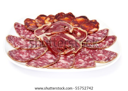 a plate with spanish chorizo, salami and jamon serrano on a white background