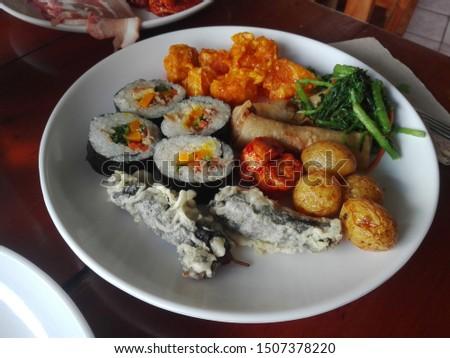A plateful of Korean food