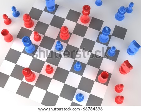 A played out set of chess with blue and red pieces