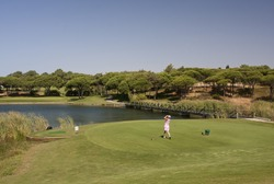 A player in a golf course with a lake.