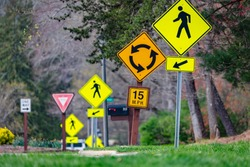 A plethora of road signs from pedestrian crossing to rotary to speed limit and yield makes for ease of study for the driver's test