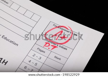 A plus on an exam paper