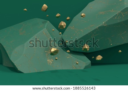 A podium of two green marble-textured boulders collided and pieces of gold float in the air. Layout for exhibitions, product presentations, therapy, relaxation and health. 3d render. Stockfoto ©