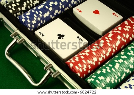 A Poker Set, Two Decks Of Cards With Aces On Top, Several Poker ...