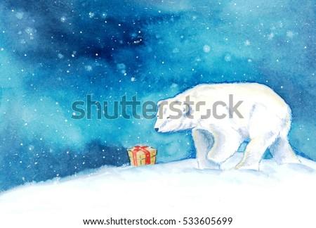 A polar bear finds a present in the snow