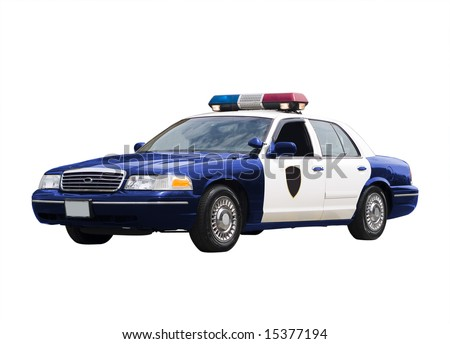 A police car isolated on a white background