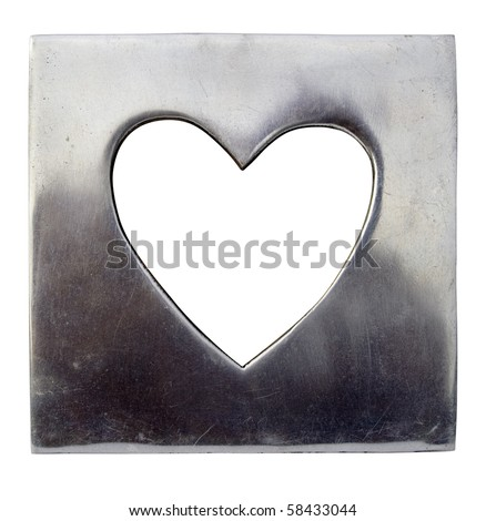 A polished metal heart shaped picture frame, isolated on white with clipping path.