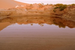 A Pond Reflecting upon Itself in the Dunes of the Arabian Desert, Dammam. Eastern Province, Kingdom pf Saudi Arabia