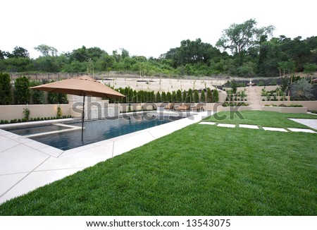 A pool with a waterfall in a luxury backyard with new landscaping