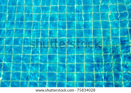 A pool with blue ceramic tiles and water ripple effect