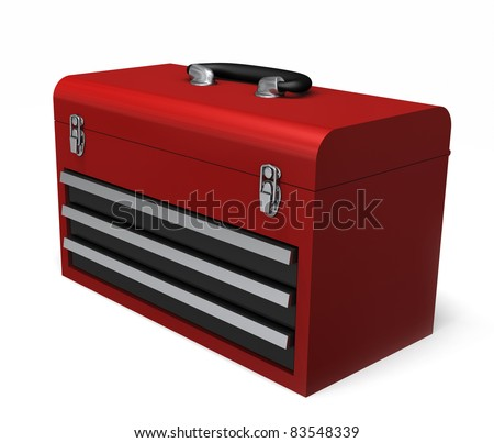 A Portable red toolbox isolated on a white background