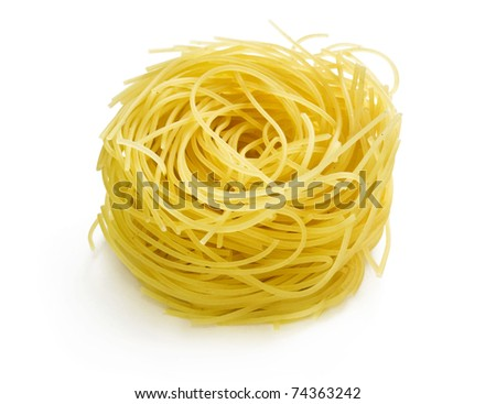 A portion of tagliatelle pasta isolated on white