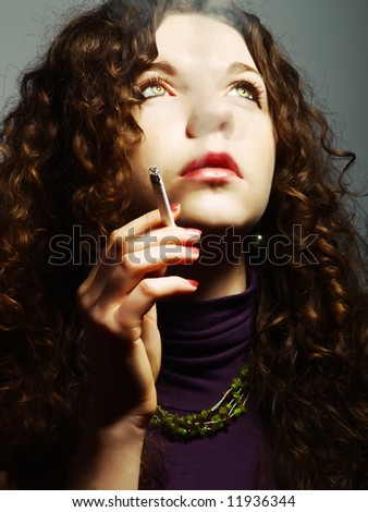 A portrait about a pretty lady with white skin and long brown wavy hair who has a nice purple dress, she is smoking and desires something
